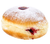 Donut with cherry jam on white background — Stock Photo