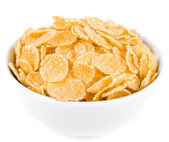Cornflakes in the cup, isolated on a white background — Stock Photo