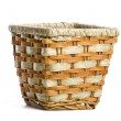 Wicker pots, Stand the pots with plants isolated - Stock Photo