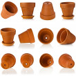 Terracotta clay flowerpots isolated on white — Stock Photo #15772255