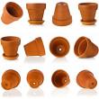 Terracotta clay flowerpots isolated on white — Stock Photo