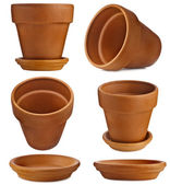 Clay flower pot with saucer isolated on white background — Stock Photo