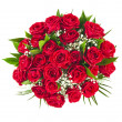 Big bunch bouquet of red roses isolated on the white background — Zdjęcie stockowe