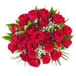 grote bos boeket van rode rozen geïsoleerd op de witte achtergrond — Stockfoto