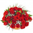 Big bunch bouquet of red roses isolated on the white background — Stock Photo #15835875