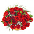 Big bunch bouquet of red roses isolated on the white background — 图库照片 #15835875
