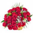 Big bunch bouquet of red roses isolated on the white background - 图库照片