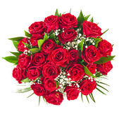 Big bunch bouquet of red roses isolated on the white background — Stock Photo