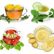 Herbal and fruit teas,Collection isolated on white background — Stock Photo