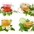 Herbal and fruit teas. Collection isolated on white background - Stock Photo