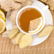 Stock Photo: Ginger tea with lemon