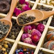 Different tea types: green, black, floral, herbal in a wooden box with bamboo spoons — Stock Photo #15868755