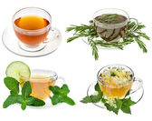Herbal teas. Collection isolated on white background — Stock Photo