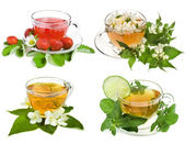 Herbal and fruit teas. Collection isolated on white background — Stock Photo