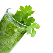 Green vegetable smoothie isolated — Stock Photo