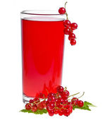 红醋栗饮料和孤立在白色的浆果 — 图库照片