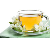 Jasmine tea isolated on a white — Stock Photo