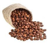Coffee beans in canvas sack on white — Stock Photo