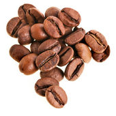 Koffiebonen op de witte — Stockfoto