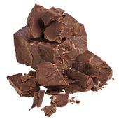 çikolata parçaları üzerinde beyaz izole — Stok fotoğraf