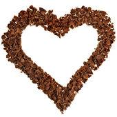 Tarjeta de chocolate marco en forma de corazón aislado sobre fondo blanco — Foto de Stock