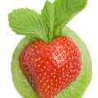 Strawberry heart with leaf mint Isolated on white — Stock Photo