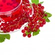 Herbal tea with red currant extract and berries isolated on white — Стоковая фотография