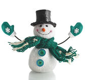 Cheerful Christmas Snowman — Stok fotoğraf