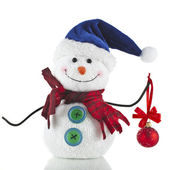 Christmas Snowman with scarf and santa claus hat — Stock Photo