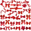 Big collection set of red gift ribbon bows - Stock Photo