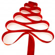 Christmas tree from red ribbon tape — Stock Photo #17184179
