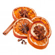 Christmas orange with cinnamon and anise — Stock Photo