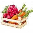 Fresh vegetable, asparagus, radish, carrots in wooden crate box — Stock Photo #17184203