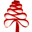 Christmas tree from red ribbon tape — Stock Photo