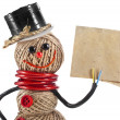 Happy Snowman made of yarn, rope, wire, tape with paper card — Stock Photo