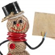 Happy Snowman made of yarn, rope, wire, tape with paper card - Stock Photo