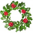 Christmas wreath of nature leaves and berries holly ilex plant isolated on white background - Stock Photo