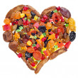 Sweet heart of mixed dried fruits — Stock Photo