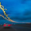 Abstract Light Night Traffic Motion - Stock Photo
