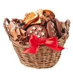 Christmas basket full cookie — Stock Photo