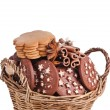 Christmas basket full cookie — Stock Photo