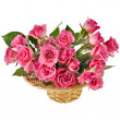 Bouquet pink roses in a basket — Stock Photo