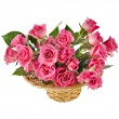 Stock Photo: Bouquet pink roses in a basket