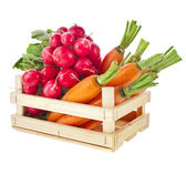 Fresh vegetable, asparagus, radish, carrots in wooden crate box — Stock Photo