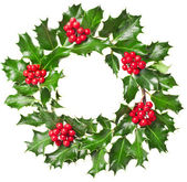 Christmas wreath of nature leaves and berries holly ilex plant isolated on white background — Stock Photo