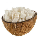 Sweet dried cubes of coconut fruit — Stock Photo