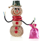Happy Snowman made of yarn, rope, wire, tape with a bag of gifts — Stock Photo