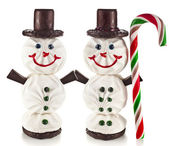 Sweet funny snowman made of marshmallow, chocolate, candy and jam — Stock Photo