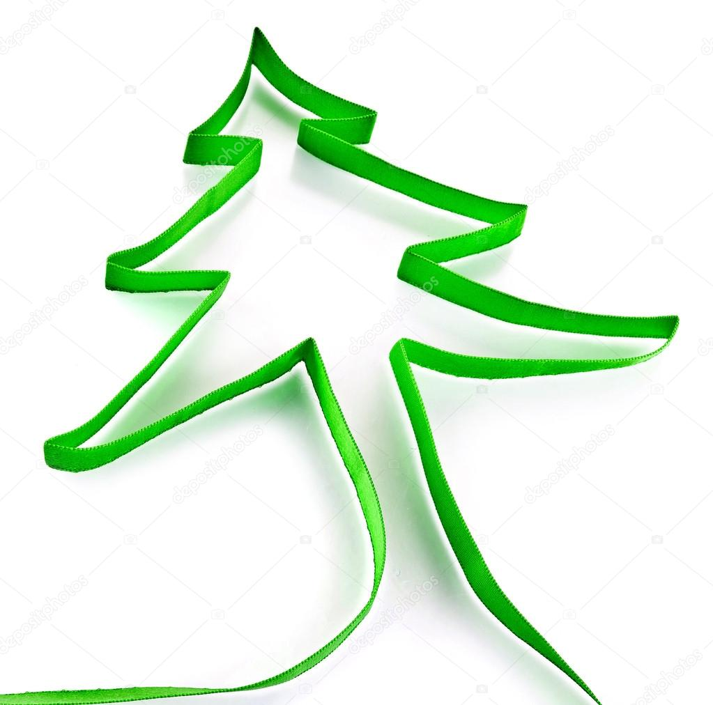 Green ribbon tree isolated on white background — Stock Photo #17185429