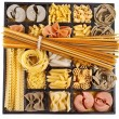 Italian pasta collection in wooden box background — Stockfoto